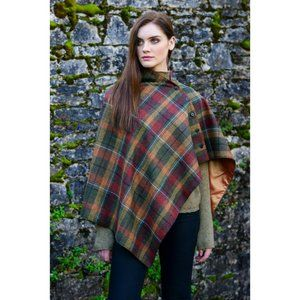 New Ireland Wool Cape Cloak Plaid Brown Green OS